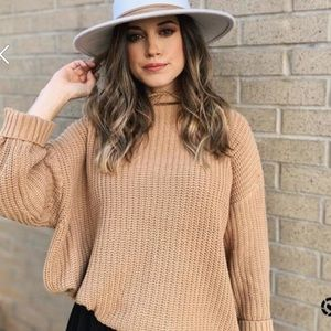 Tan Mock Neck Chunky Sweater